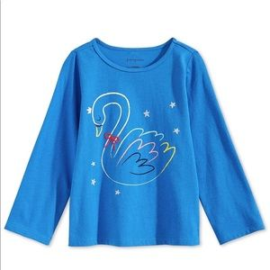 First Impressions Baby Girls Swan-Print Cotton Tee